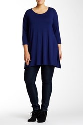 Andrea Jovine 3 4 Length Sleeve Side Vent Blouse Plus Size Blue