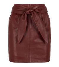 Reiss Leonie Leather Belted Skirt Female Burgundy