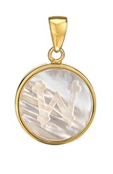 Asha Women's Mother Of Pearl Initial Charm Gold