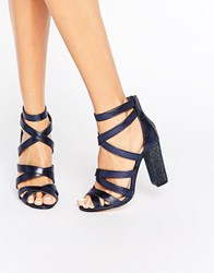 Miss Kg Flick Strappy Detailed Heeled Sandals Dark Blue Fabric Navy