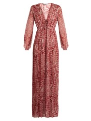 Raquel Diniz Anuska Paisley Print Silk Georgette Dress Red Print