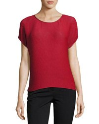 Lafayette 148 New York Nadette Waffle Knit Blouse Red