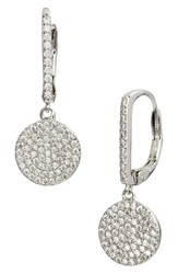 Nordstrom Pave Bar And Disc Drop Earrings Clear Silver