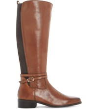 Dune Taro Leather Knee High Boots Brown Leather