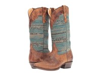 Roper Arnette Turquoise Sweater Cowboy Boots Brown