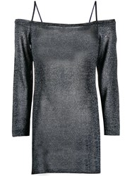 Missoni Sparkly Knit Cold Shoulder Top Blue