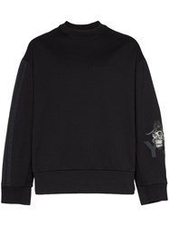 Y 3 Skull Embroidered Boxy Fit Cotton Jumper Black