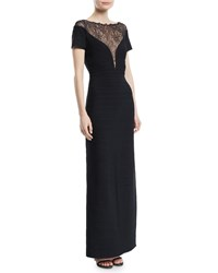 Herve Leger Short Sleeve Bandage Column Evening Gown With Lace Inset Black