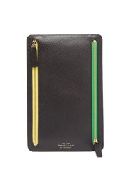 Smythson Panama Small Leather Currency Case Black
