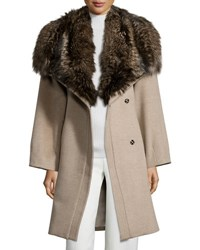 Belle Fare Felt Cashmere Fox Trim Coat Cream