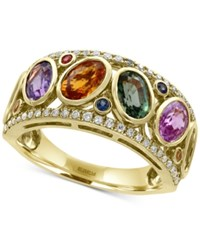 Effy Watercolors Multi Sapphire 3 1 2 Ct. T.W. And Diamond 1 5 Ct. T.W. Ring In 14K Gold Yellow Gold