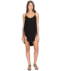 Lucky Brand Coastal Palms Tulip Side Dress Cover Up Black Women's Swimwear