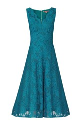 Jolie Moi Scalloped V Neck Lace Dress Teal