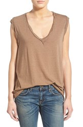 Women's Pam And Gela V Neck Muscle Tee Brown
