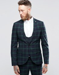 Noose And Monkey Super Skinny Suit Jacket In Tartan With Stretch Green