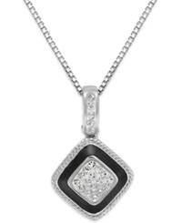 Giani Bernini Cubic Zirconia And Black Enamel Pendant Necklace In Sterling Silver