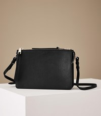 Reiss Dalston Leather Cross Body Bag In Black