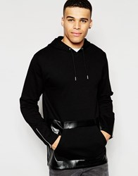 Asos Longline Hoodie With Faux Leather Panel And Zips Black