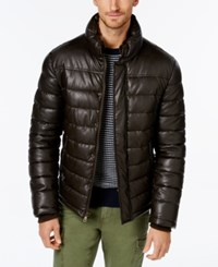 Tommy Hilfiger Men's Faux Leather Puffer Jacket Dk Brown