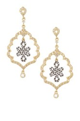 Freida Rothman 14K Gold Plated Sterling Silver Cz Alhambra Love Knot Earrings Black