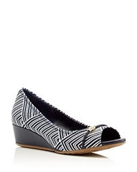 Cole Haan Tali Kaleidoscope Print Low Heel Wedge Pumps Dark Blue