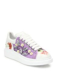 Alexander Mcqueen Sequin Embroidered Leather Platform Sneakers White Multi