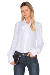 Frame Denim Tie Neck Blouse White