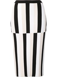 Derek Lam Striped Pencil Skirt White