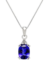 Macy's Tanzanite 2 1 2 Ct. T.W. And Diamond Accent Pendant Necklace In 14K White Gold