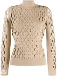 Fendi Lattice Design Jumper Brown