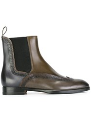 Santoni Quarter Brogue Chelsea Boots Brown