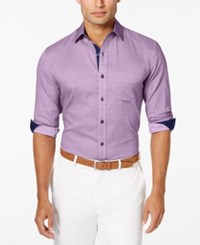 Tasso Elba Men's Diamond Texture Long Sleeve Shirt Lavender Combo