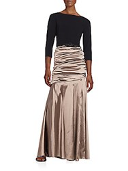 Theia Belted Ruched Gown Taupe