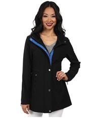 Nautica Hooded Mesh Trim Softshell Jacket Black Princess Blue Women's Coat