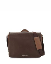 Robert Graham Textured Leather Messenger Bag Brown