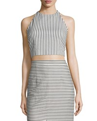 Alice Olivia Jaymee Striped Cropped Halter Top Black White