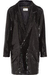 Saint Laurent Sequined Crepe Mini Dress Black