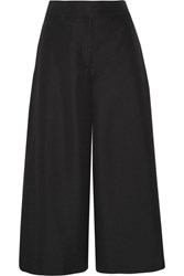 Valentino Cropped Silk Shantung Wide Leg Pants Black