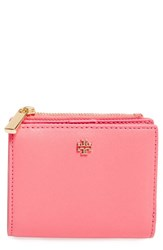 Tory Burch Women's 'Mini Robinson' Leather Wallet Pink Cosmo