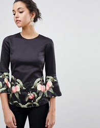 Ted Baker Bell Viccie Sleeve Top In Peach Blossom Print Black