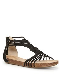 Me Too Nyla Zippered Leather Sandals Black