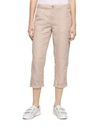 Calvin Klein Jeans Linen Patch Pocket Cropped Pants Simply Taupe