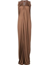 Rick Owens Draped Maxi Dress Brown