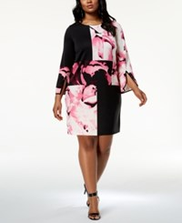 Alfani Plus Size Colorblocked Dress Created For Macy's Pieced Real Rose