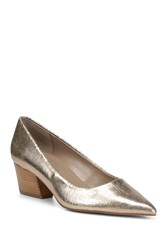 Donald J Pliner Anni Pointed Toe Metallic Leather Pump Platino
