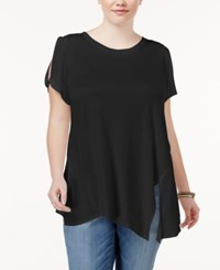 Rachel Roy Trendy Plus Size Asymmetrical T Shirt Black