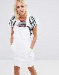 This Is Welcome Denim Dungaree Dress White