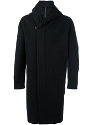 Attachment Hoodie Detail Overcoat Black