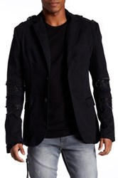 Ron Tomson Ripped Patched Slim Fit Motorcycle Jacket Black