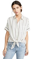 Madewell Tie Front Button Down Top Snake Stripe Pearl Ivory